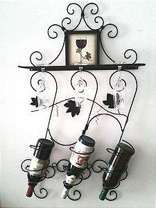 Adega suporte de parede para vinhos e taças 90cm X 55cm.