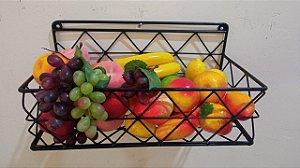 Fruteira de parede treliça 40cm x 20cm