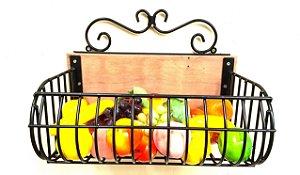 Fruteira para Parede com Madeira  40 X 20