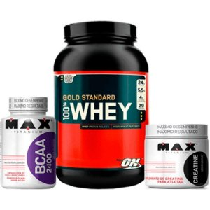 Whey Protein Gold Standard 100% 907g  Optimum + Creatina 300 + BCAA Max Titanium Chocolate