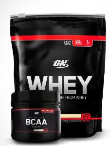 KIT AUXÍLIO GANHO DE MASSA MUSCULAR BLACK LINE OPTIMUM NUTRITION Morango