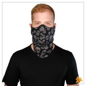 Máscara para Barbudos Preta - Caveira Cinza