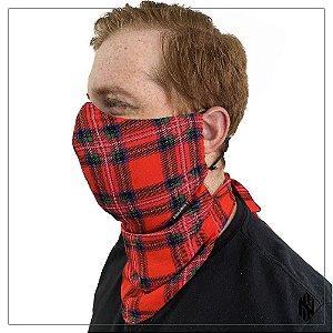 Máscara para Barbudos Xadrez Escocês Vermelho