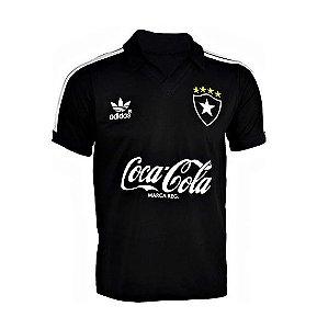 Camisa Polo Retrô Botafogo Anos 80 Preta - 100% Algodão