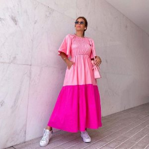 Vestido Bicolor Rosa e Pink Bardoh