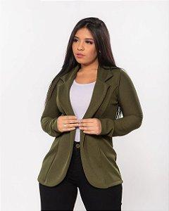 Blazer Feminino Acinturado Tecido leve TAMANHO UNICO (cores: preto e verde)