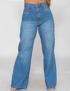 Calça Jeans WIDE LEG Clarinha C/ Vazamento LPP REF 09154
