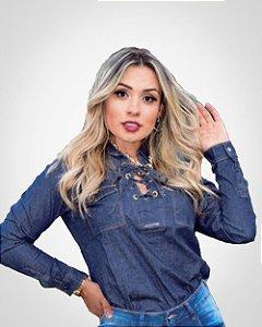 Camisa Jeans Feminina com Ilhós
