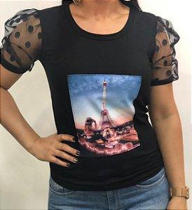 Blusinha manga Princesa cor preta PARIS-tamanho único