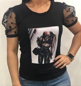 Blusinha manga Princesa cor preta PODEROSA-tamanho único