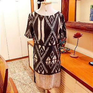 Vestido Animale de seda, Tam 38