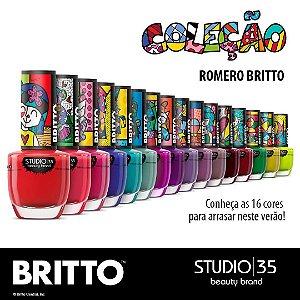 Esmaltes Studio 35 Coleção Romero Britto - Kit 16 Cores