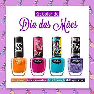 Esmaltes Studio 35. kit Colorido dia das Mães, 4 Cores.