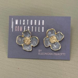 Brinco Flor Esmaltada Pequena - Cinza