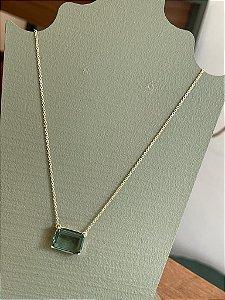 Colar Ponto de Luz Retangular  - Ametista Verde