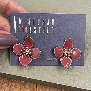 Brinco Flor Quatro Pétalas Pequena - Rose