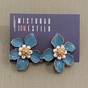 Brinco Flor Hortência Média - Azul