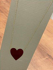 Colar Coração de Chapa - GG - Dourado