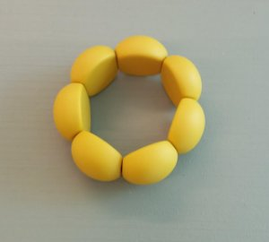 Bracelete de Bolas de Resina - Fosco - Mostarda