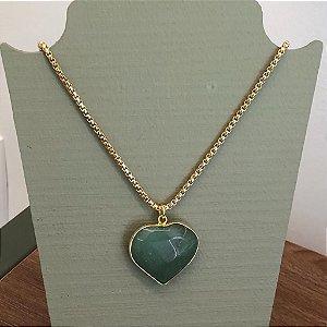 Colar Coração Pedra Verde - Curto