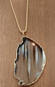 Colar Fio Dourado Com Pedra Ágata - Preto 3