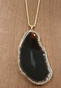 Colar Fio Dourado Com Pedra Ágata - Preto 5