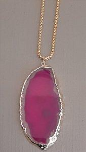 Colar Fio Dourado Com Pedra Ágata - Pink 1