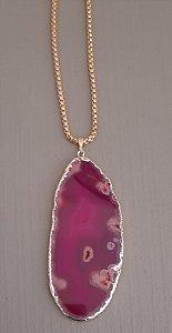 Colar Fio Dourado Com Pedra Ágata - Pink 3