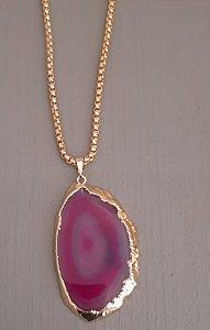 Colar Fio Dourado Com Pedra Ágata - Pink 11