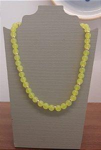 Colar Pedra Ibiza Com Placa Dourada - Verde Limão