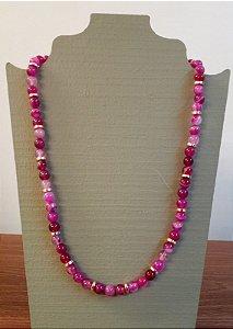 Colar Pedra Ibiza Com Placa Dourada - Pink