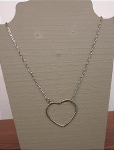 Colar Coração Solto Corrente Cartier - M - Prata