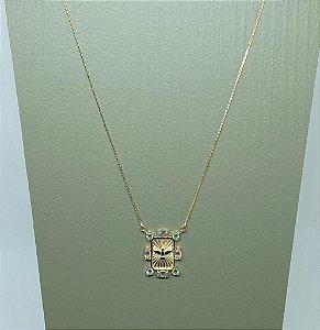 Colar Medalha Espírito Santo Com Pedras Dourado