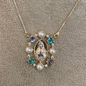 Colar Medalha Nossa Senhora Com Pedras Dourado