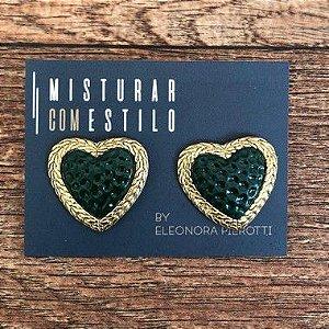 Brinco Coração Renda Dourado P - Verde