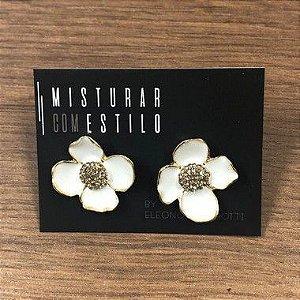 Brinco Flor Esmaltada Pequena - Branco