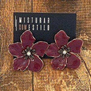 Brinco Flor Metal Esmaltada Grande - Roxa