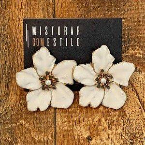Brinco Flor Metal Esmaltada Grande - Branco