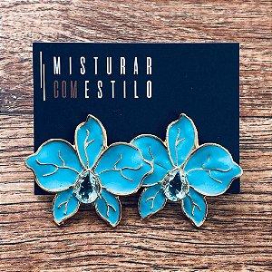 Brinco Orquidea Esmaltada - Azul Turquesa