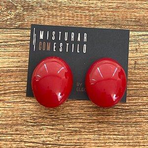 Brinco Oval - Vermelho
