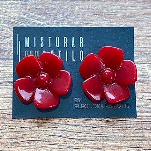 Brinco Flor de Resina Aberta Pequena - Vermelha