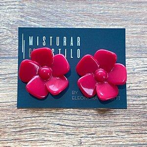 Brinco Flor de Resina Aberta Pequena - Pink