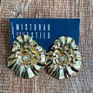 Brinco Flor Zirconia - Dourado