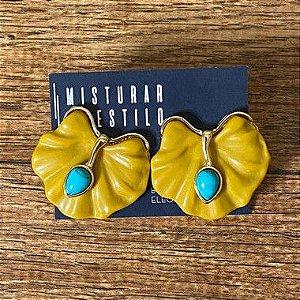 Brinco Folha Com Pedra Turquesa - Amarelo