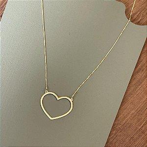 Colar Coração Vazado - G - Dourado