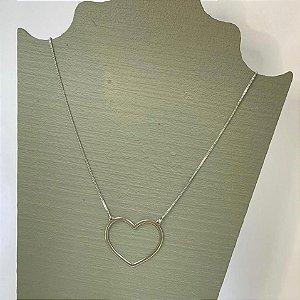 Colar Coração Vazado - G - Prata