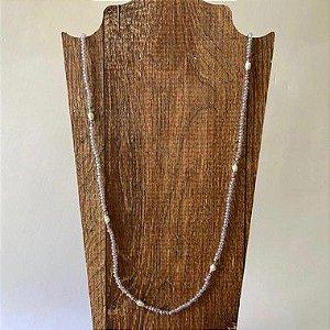 Colar Fio de Cristal com Pérola Longo - Lilás