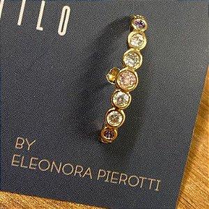 Ear Hook de Pedras Coloridas - Dourado