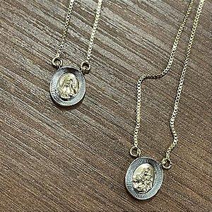 Escapulário Oval - Dourado com Prata