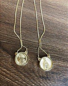Escapulário São Bento e N. S. Aparecida - Dourado